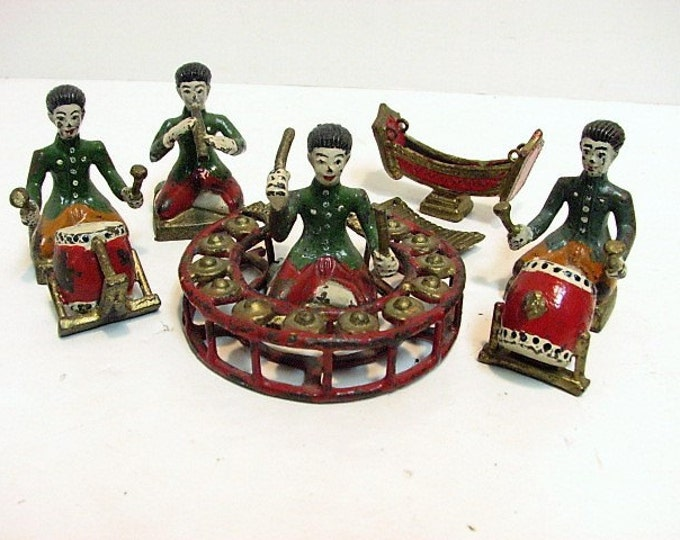 Antique Cast Metal Chinese Musician Figures Group, Drummers, Flute Players, Asian Music Band