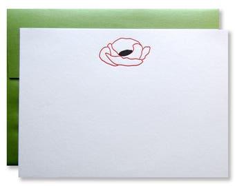Letterpress Poppy Flat Stationery - Red Flower, Line Art,