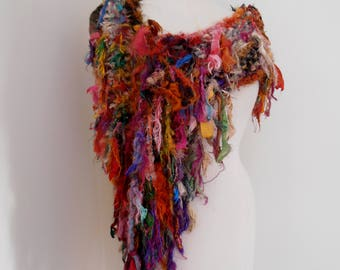 Recycled silk scarf, hand knitted boho tattered rag scarf,multicolored