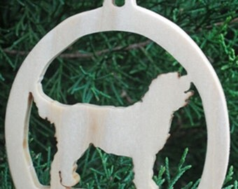 Wooden Labradoodle Christmas Tree Ornament, Christmas Tree Decoration, Holiday Decoration, Canine Ornament, Family Pet Dog Ornament