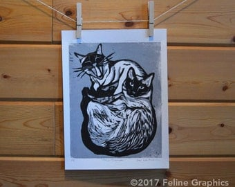 Two Siamese Cats Linocut Print, Cat Print, Home Decor, Linocut, Cat Art, Siamese Cat, Hand Printed, Cat Gift