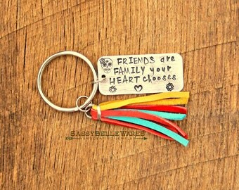 Friends are Family Your Heart Chooses Leather Tassel Keychain hand stamped family best friend BFF key chain ring keyring sugar skull custom