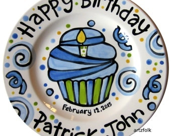 "7"" or 10"" KILN FIRED Happy Birthday cheer candle blue cupcake personalized Plate custom ceramic by Artzfolk"
