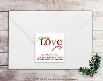 Peace Love Joy Return Address Label: Square Label - Holiday Return Address Label - Christmas Label - Return Address Sticker - WH190