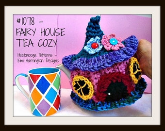 CROCHET PATTERN - Tea Pot Cozy, Fairy House, Pixie House, Gnome House, Leprechaun house, Easy, #1078, home decor, kitchen, whimsy, cottage