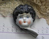 Antique Painted Doll Head from Germany European Frozen Charlotte- Altered Art Supply Doll Parts