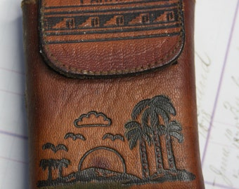 Vintage Panama Canal PLAYING CARDS in Leather Case- Tooled Leather- Tropical Scene- Card Game