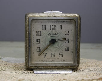 Vintage Alarm CLOCK- Made in Russia- Non working- Retro Decor Winding Alarm Clock Distressed Patina- Industrial Silver Chrome Finish
