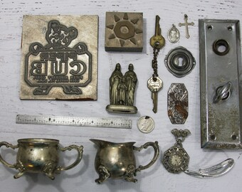 Vintage Silver Lot Collectibles- Found Objects- Silver Plated- Advertising Stamps Religious Icons- Escutcheon Hardware Lot Sugar & Creamer