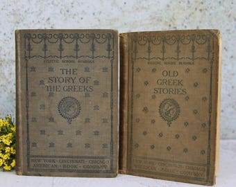 Vintage Books- The Story of the Greeks Eclectic School Readings- Copyright 1895 with Sepia Toned Pages