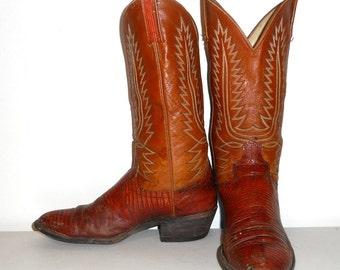 Mens 8 C Lizard Cowboy Boots Dan Post Tan Brown Reptile Distressed Womens 9.5