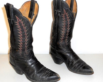 Mens 8.5 D Cowboy Boots Tony Lama Black Leather Distressed Red Yellow Well Worn