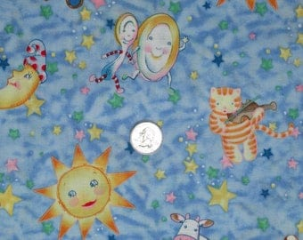 "Cotton Fabric Hey Diddle Diddle Coordinate 45"" wide x 33"" long Cat Cow Moon Dog Dish Spoon"