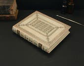 RESERVED: Leather Journal / Blank Book, Natural Leather, Tooled Decoration - Ivory