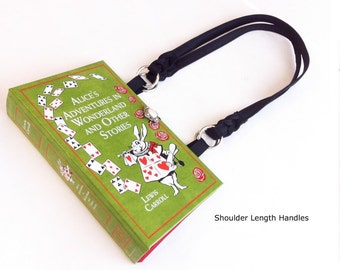 Alice In Wonderland Leather bound Recycled Book Purse - Alice Book Cover Handbag - Queen of Hearts Purse - White Rabbit Pocketbook