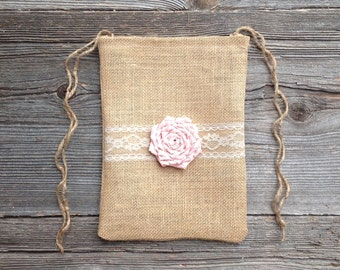 Blush Wedding Bag, Dollar Dance Bag, Rustic Wedding, Burlap Bag, Tote Bag, Brides Bag, Pink Wedding, Burlap Lace Wedding, Maid of Honor Bag