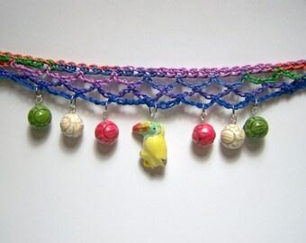 yellow toucan crochet choker