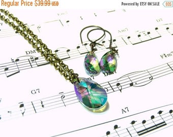 On Sale Swarovski Crystal Jewelry Set Rainbow Crystal Set Bohemian Jewelry Gifts for Women