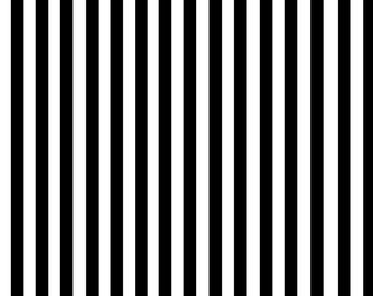 Black + White Stripe Fabric - Perfectly Pinstripe In Black White By Theartwerks - Black And White Cotton Fabric By The Yard With Spoonflower