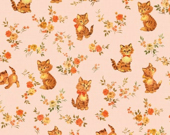 Floral Cat Fabric - Kittens Pink 1a By Muhlenkott - Cat Cotton Fabric By The Yard With Spoonflower