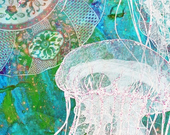 Jellyfish Fabric - Blue Plates And Jellies In Turquoise By Greenlotus - Modern Abstract Nautical Cotton Fabric By The Yard With Spoonflower