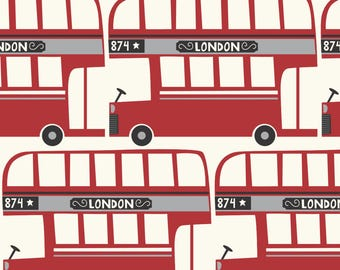 London Red Bus Fabric - Big Red Bus By Stacyiesthsu - UK London Red Bus Traffic Kids Cotton Fabric By The Yard With Spoonflower