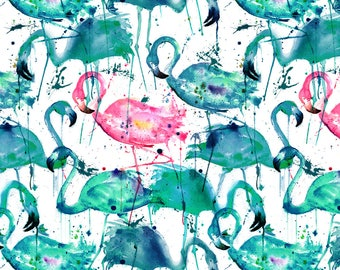 Teal + Pink Flamingos Fabric - Flamingos Making A Splash In Teal! By Karismithdesigns - Flamingo Cotton Fabric By The Yard With Spoonflower