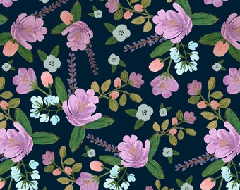 Purple Floral Fabric - Golightly Floral By Shelbyallison - Wedding Florals Cotton Fabric By The Yard With Spoonflower