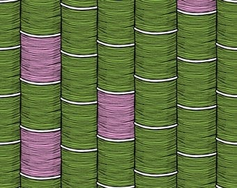 Thread Spools Fabric - Stacks Of Cotton (+Pink) By Seesawboomerang - Pink and Green Spool Thread Cotton Fabric By The Yard With Spoonflower