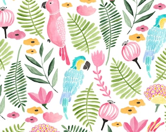 Tropical Resort Fabric - Summer Tropical Parrots By Thislittlestreet - Jungle Tropics Parrot Cotton Fabric By The Yard With Spoonflower