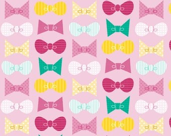 Pink Bow Fabric - Bows By Katuno - Bows Pink Teal Yellow Baby Girl Bows Cotton Fabric By The Yard With Spoonflower