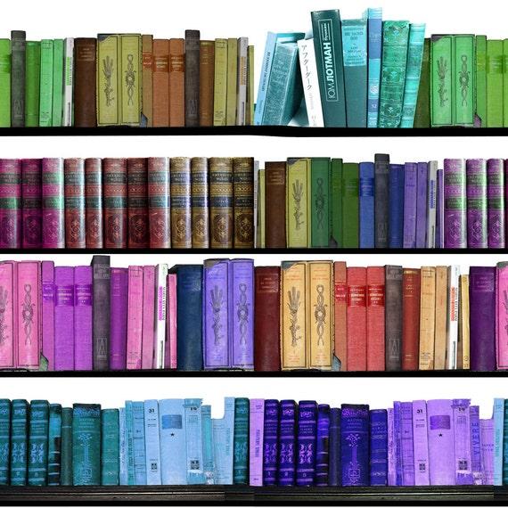 Library Book Fabric Rainbow Books Bookshelf By Inspirationz