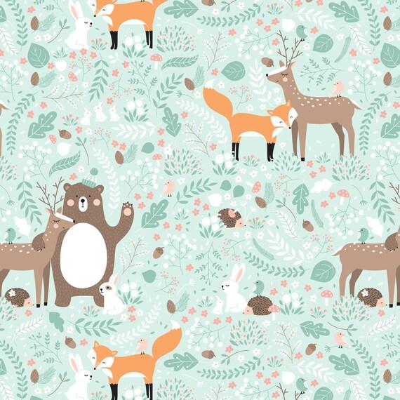 Woodland nursery fabric forest friends by innamoreva for Baby nursery fabric yard
