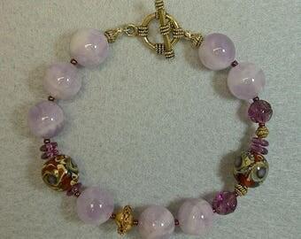 Vintage Cape Amethyst Bead Bracelet, Vintage 1950s German Purple Glass, Chinese Amber Gold Lampwork Glass Bead, Vintage Gold Beads