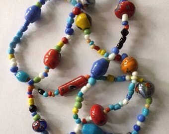 Colorful Vintage Czech Glass Beaded Necklace