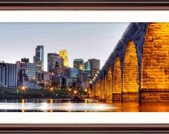 Minneapolis, MN Skyline from Stone Arch - Fine Art Print