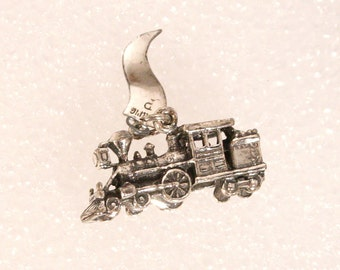 Vintage Silver Train Charm Carriage Charm Pendant Old Fashioned Steam Engine Souvenir Santa Cruz