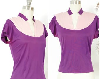 Vintage 1940s Blouse - Sporty Two Tone Purple Late 40s Jersey Knit Top with Short Collar
