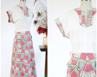 Vintage 1940s Dress - Late 40s Pique and Printed Cotton Day Dress with Mid-Century Style Plaid in Aqua and Fuchsia