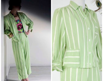 Vintage 1940s Pantsuit  - Summer 2017 Lookbook - The Daquiri Afternoon Suit - Rare Lime Green Striped Denim Two Piece Trouser Set w/ Jacket