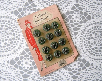 Vintage 1920's Itty Bitty Sewing Buttons Lot Carded Czechoslovakia Green Glass Buttons