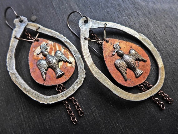 "Handmade rustic earrings by fancifuldevices, ""Peccadillo"""