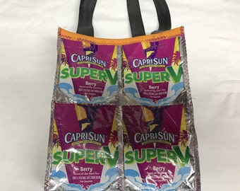 GO GREEN purse made with Recycled Capri Sun Juice Pouches Variety repurposed, upcycled