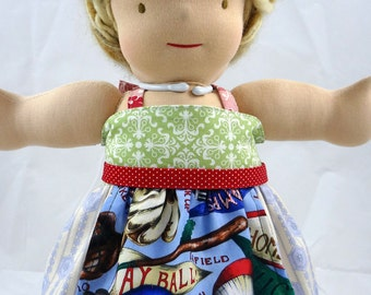 10 to 18 inch Waldorf doll dress, green blue red baseball, m2m Matilda Jane apron top, 18 inch girl doll clothes 15 inch bitty babies twins