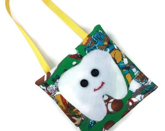 Tooth fairy pillow boys green soccer ball games sports, felt applique RTS boy lost tooth fairy bag pouch handmade gifts boys party favors