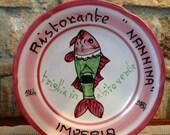 Vintage Italian Ceramic Solimene Vietri 1984 20th Anniversary Edition Buon Ricordo Restaurant Plate - IMPERIA