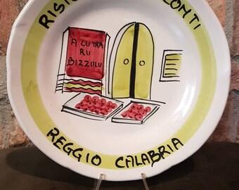 Vintage Italian Ceramic Solimene Vietri 1989 Buon Ricordo Restaurant Plate - REGGIO CALABRIA