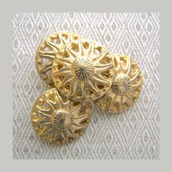Compass Sun Buttons 25mm - 1 inch Bright Golden Sun Metal Shank Buttons - 4 NOS Pierced Gold Tone Metal Compass Sun Buttons MT64