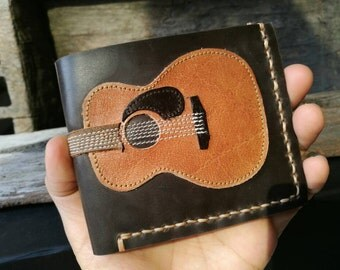 Free!! initials stamp Hand Stitch Men Wallet Acustic Guitar Colored Wood