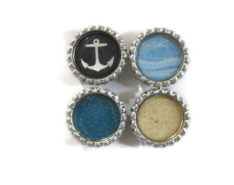 Nautical Themed Bottle Cap Magnets Set of 4